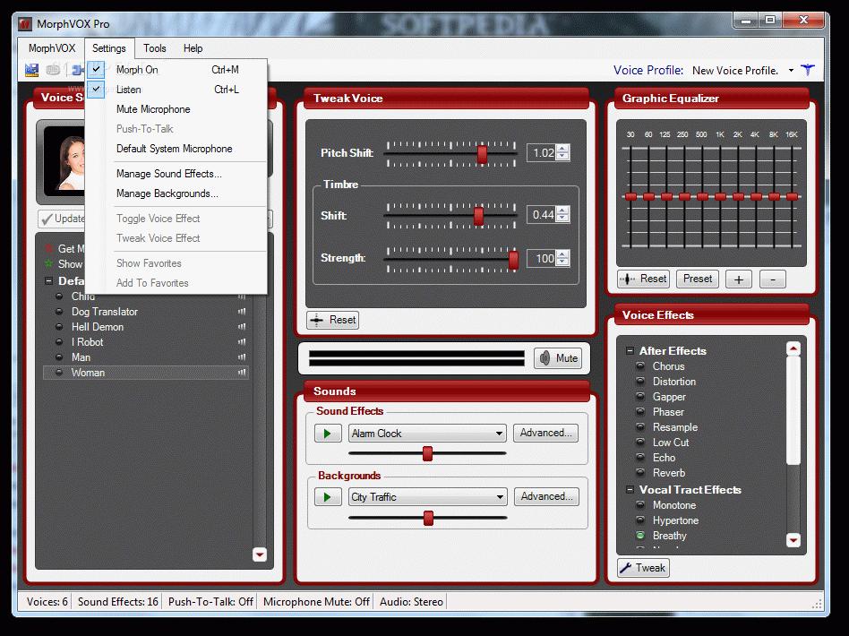 Общий вид программы для изменения голоса morphvox pro для skype