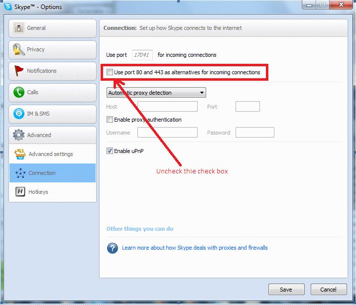 В окошке можно настроить порт и соединение программы skype