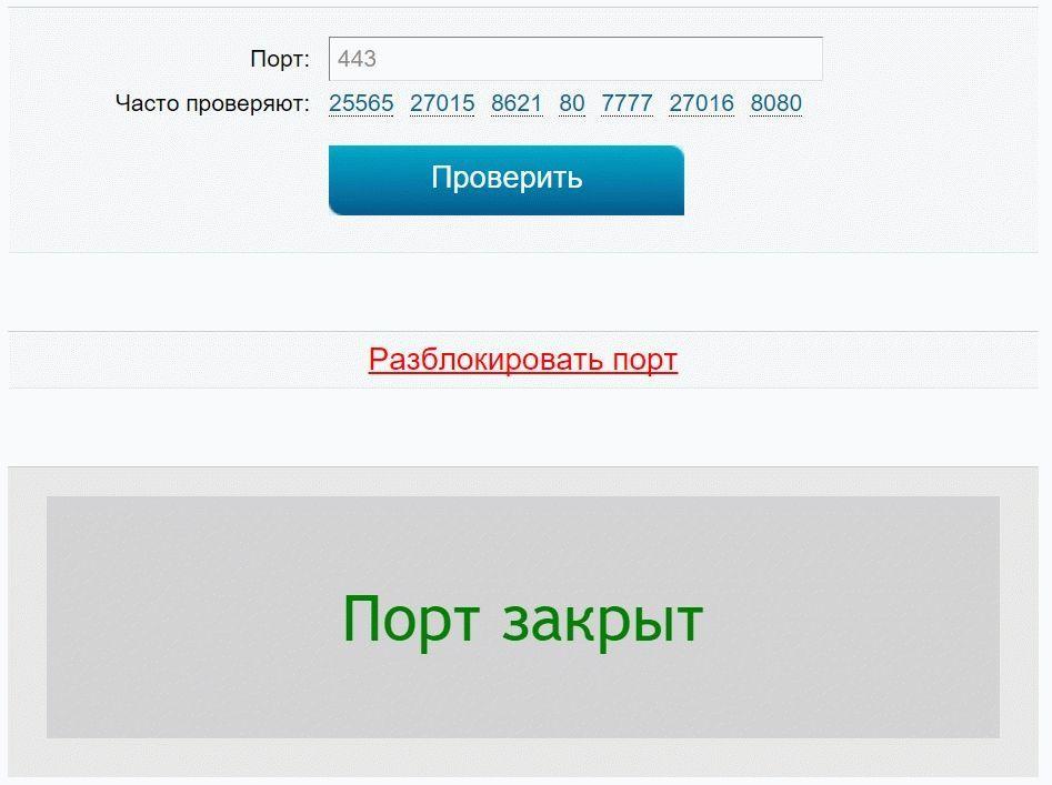 на сайте можно проверить работоспособность указанного вами порта
