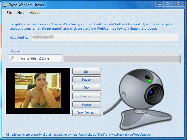 не используйте skype webcam hacker - это незаконно