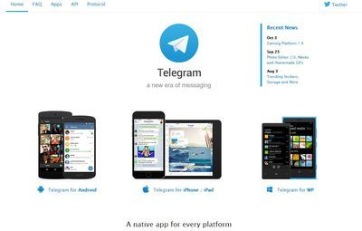 Мессенджер telegram работает и у него есть официальный сайт