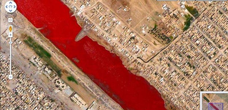 кроваво красное озеро в багдаде